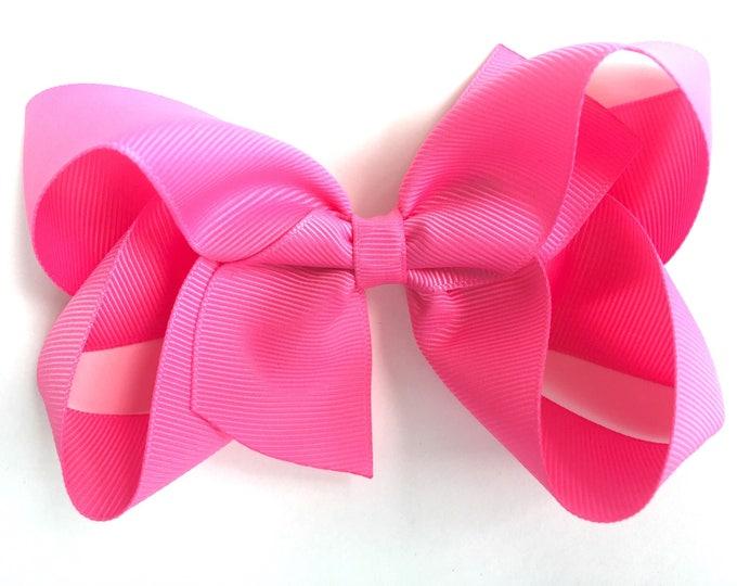 Pink hair bow - 5 inch hair bows, hair bows, hair clips, bows for girls, baby bows, girls hair bows, big hair bows