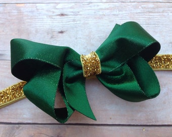 Baby headband - green baby headband, baby girl headband, baby headband bows, newborn headband, baby bows, baby bow headband, baby girl