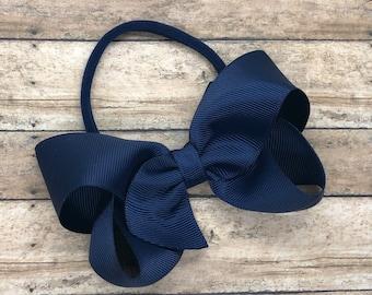 Navy blue baby headband - baby girl headband, nylon headband, baby headband bows, newborn headband, baby bows, baby hair bows, bow headband