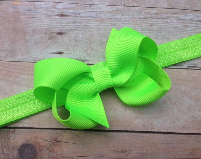 Key lime baby headband - baby girl headband, baby headband bows, newborn headband, baby bows, baby bow headband, hair bows