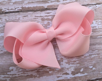 Baby pink hair bow - hair bows, bows for girls, big hair bows, 4 inch hair bows, toddler hair bow