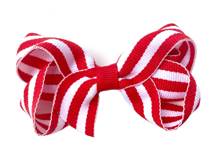 Red and white hair bow - hair bows, hair bows for girls, baby bows, toddler bows, girls bows, pigtail bows