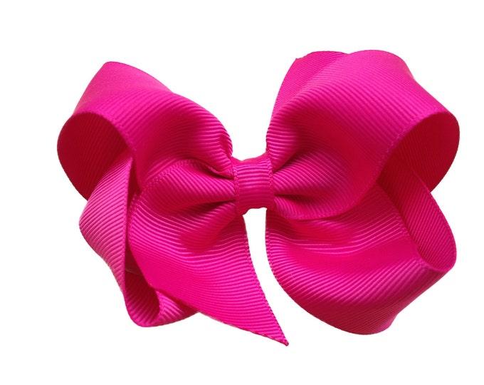 Fuchsia hair bow - hair bows for girls, baby bows, toddler bows, girls bows, 4 inch hair bows