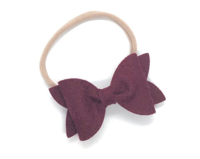 Burgundy baby headband - nylon headbands, baby girl headband, baby headband bows, newborn headband, baby bows, baby bow headband