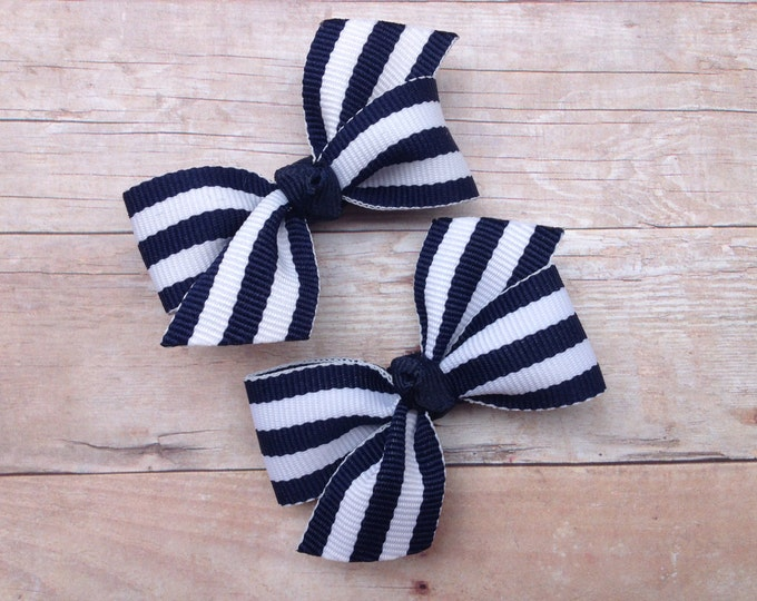 Navy blue pigtail bows - hair bows, baby bows, bows for girls, toddler bows, baby hair clips, small bows