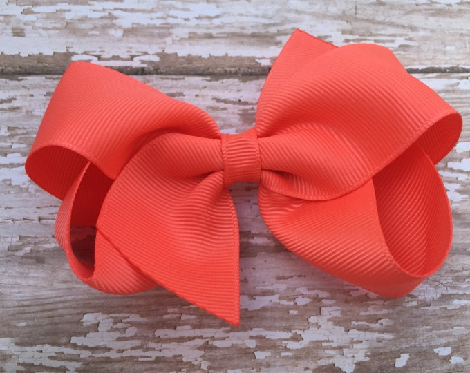 Bright coral hair bow - hair bows, hair bows for girls, big hair bows, girls bows, toddler bows, baby bows, coral bows