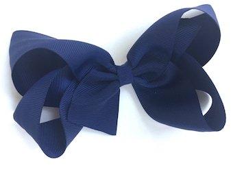 Navy blue hair bow - hair bow, hair bows, hair bows for girls, boutique bows, toddler bows, girls bows, baby bows, big hair bows, hairbows