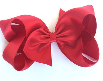 Red satin hair bow  - satin bow, 6 inch bow, boutique bows, girls hair bows, girls bows, toddler hair bows, christmas bow