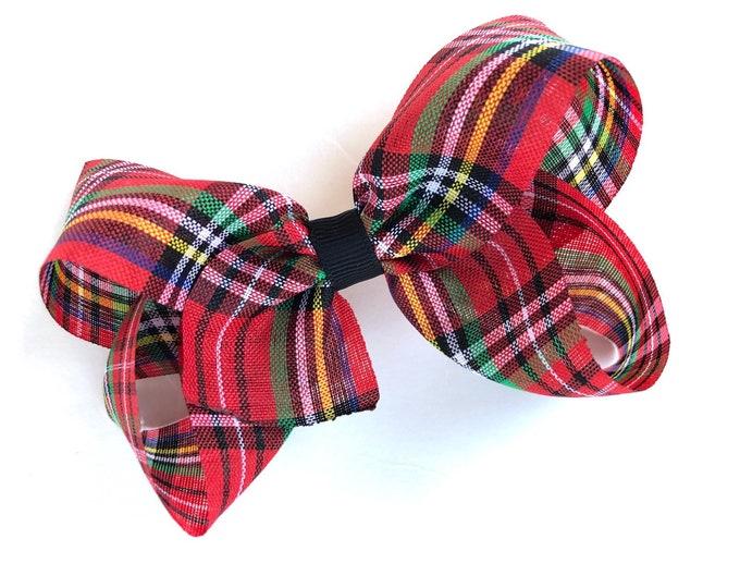 Plaid bow - hair bows for girls, hair bows, girls bows, baby bows, Christmas bows, toddler bows, boutique hair bows