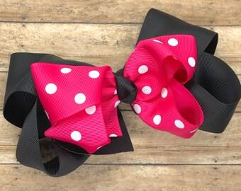 Girls hair bow - hair bows, bows for girls, hair clips, baby bows, toddler hair bows, boutique hair bows, big hair bows, minnie mouse bows