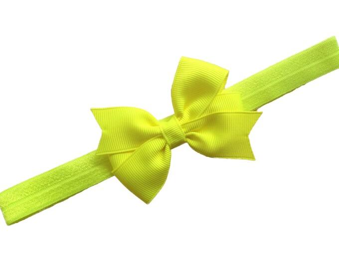 Neon yellow baby headband - baby headband bows, baby girl headband, newborn headband, baby bows, baby bow headband