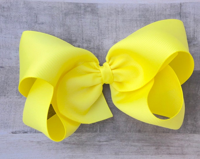 Large hair bow - 6 inch hair bows, lemon yellow hair bow, cheer bows, big hair bows, girls hair bows
