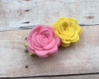 Felt flower hair clip - felt flower clips, baby hair bows, baby bows, felt bows, felt hair bows, flower hair bows, flower hair clips