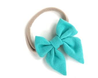 Turquoise baby headband - sailor bows, nylon headband, baby headband bows, baby bows, baby hair bows, hair bows