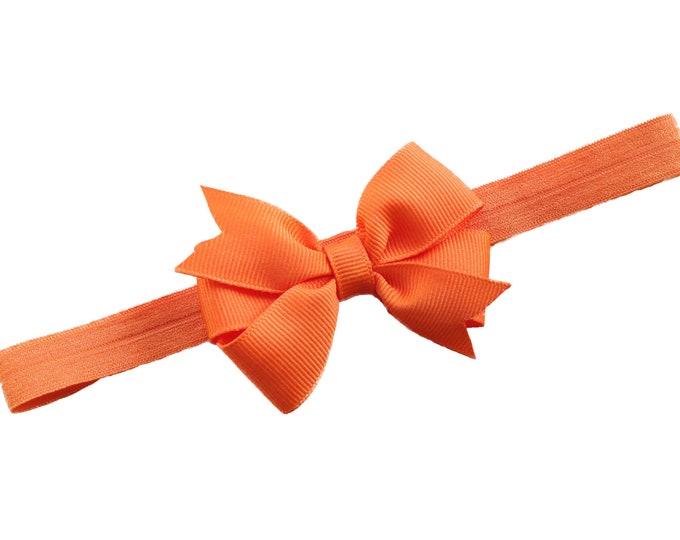 Orange baby headband - baby headband, baby girl headband, baby headband bows, newborn headband, baby bows, baby bow headband