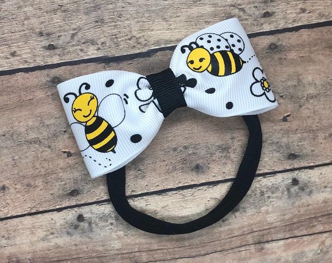 Bumble bee baby headband - nylon baby headband, baby girl headband, baby headband bows, baby bows, newborn headband, baby bow headband