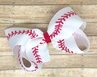 Baseball hair bow - hair bows, bows for girls, toddler hair bows, 6 inch hair bows