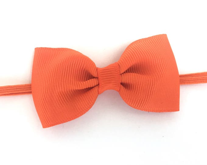 Orange baby headband - baby girl headband, baby headband bows, newborn headband, baby bows, bow headband