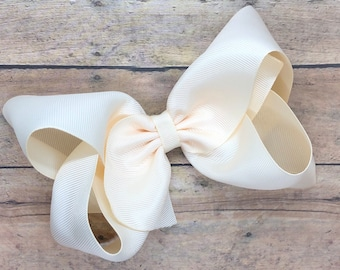 Ivory hair bow - hair bows, hair bows for girls, girls hair bows, big hair bows, large bows, toddler bows