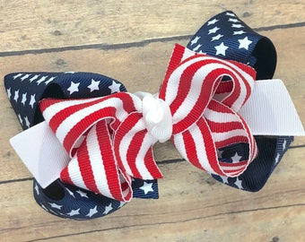 Fourth of July hair bow - hair bows, hair clips, bows for girls, girls hair bows, toddler hair bows, hairbows, boutique hair bows