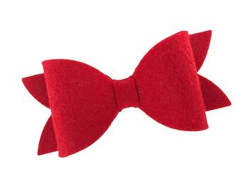 Red felt hair bow - felt bows, hair bows, bows for girls, baby bows, girls hair bows, toddler bows, baby headband