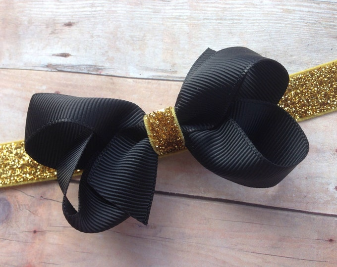 Black and gold baby headband - baby headband bows, baby girl headbands, newborn headbands, baby bows