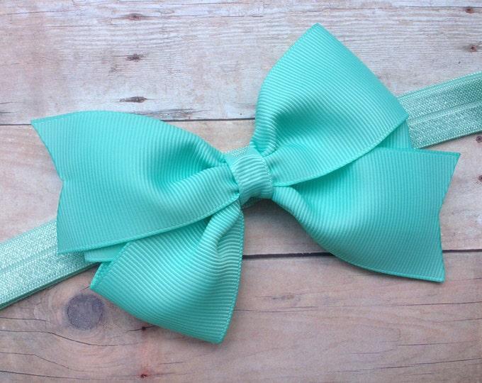 Aqua blue baby headband - baby headband bows, baby girl headband, newborn headband, baby bows, baby girl, hair bows, bow headband