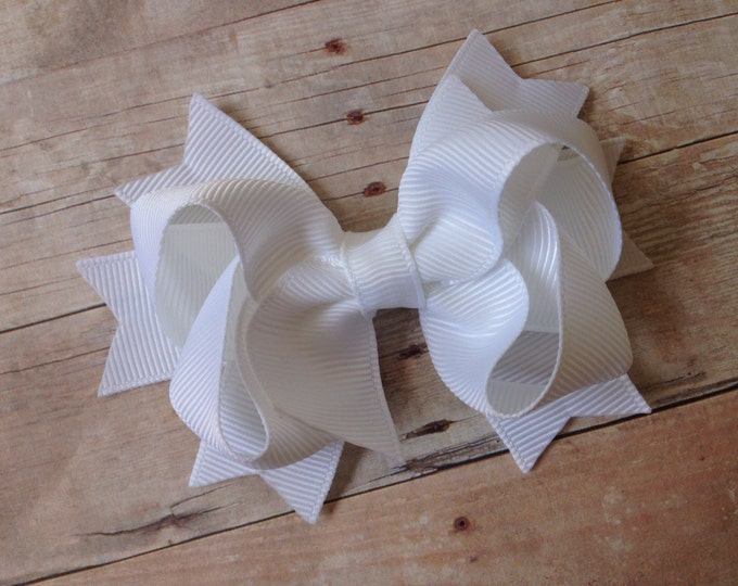 White hair bow - white bows, hair bows, boutique hair bows, girls hair bows, toddler hair bows, girls bows, baby bows, baby hair bows, bows