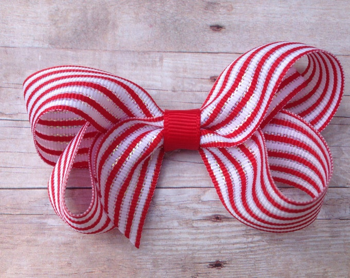 Red & white striped hair bow - Christmas hair bow, hair bows, girls bows, toddler bows, boutique bows, 3 inch bows