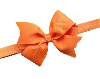 Orange baby headband - baby headband, baby headband bows, newborn headbands, baby bows, baby girl headbands, headbands baby