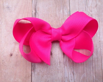 Neon pink hair bow - hair bows for girls, baby bows, toddler bows, pigtail bows, girls bows