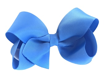 Carolina blue hair bow - hair bows, bows for girls, toddler bows, baby bows, 4 inch hair bows, big hair bows
