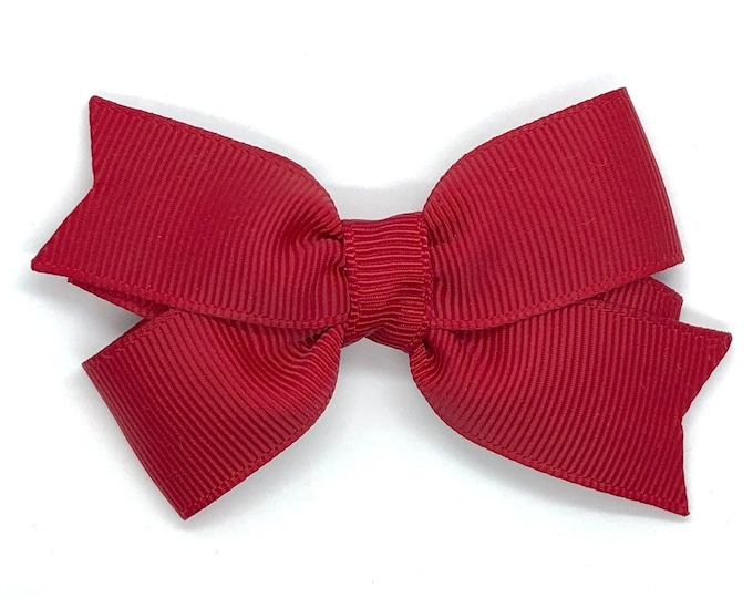 Dark red hair bow - hair bows for girls, baby bows, toddler hair bows, pigtail bows, 3 inch hair bows