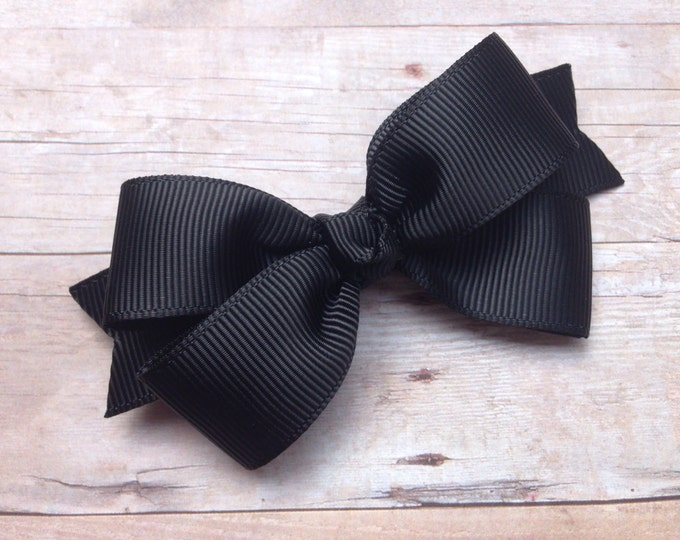 Black hair bow - hair bows, girls hair bows, toddler hair bows, baby bows, boutique hair bows, hair bows for girls, hair clips, hair clips