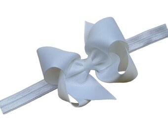 White baby headband - baby headband bows, baby girl headbands, baby bows, newborn headbands, baby hair bows