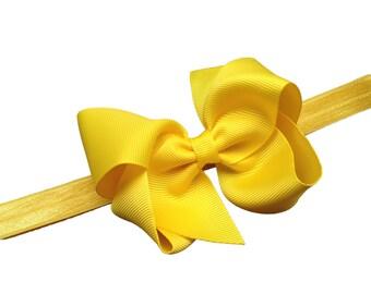 Yellow baby headband - baby girl headband, baby headband bows, newborn headband, baby bows, baby hair bows