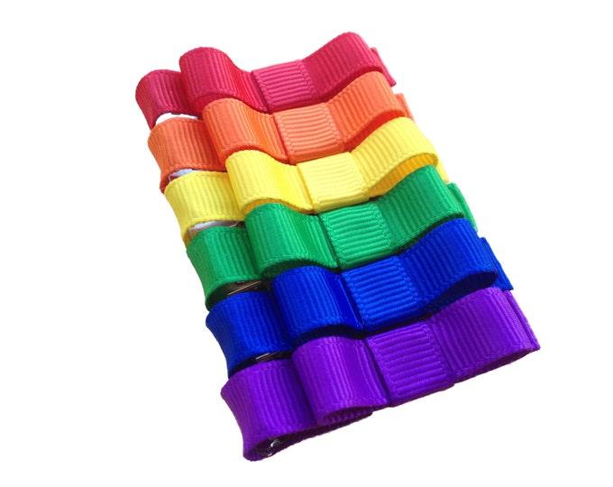 Set of rainbow baby hair clips - hair bows, hair clips, baby bows, bows for girls, hair clips for girls
