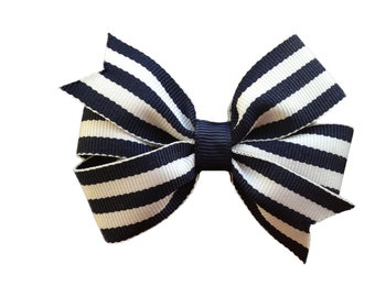 Navy blue striped hair bow - hair bows, hair clips, bows for girls, baby bows, girls hair bows, pigtail bows, toddler hair bows