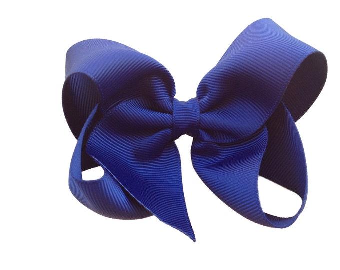Navy blue hair bow - hair bows, bows for girls, girls bows, girls hair bows, toddler bows, boutique bows, hairbows, bow, hair clip
