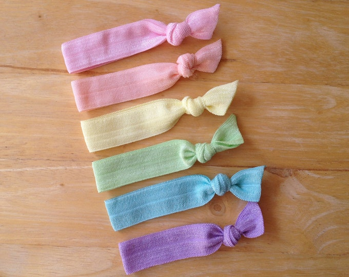 Set of 6 elastic hair ties - hair ties, ponytail holders, no crease hair ties, hair accessories