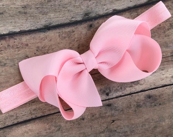Light pink baby headband - baby girl headband, baby headband bows, newborn headband, baby bows, baby bow headband