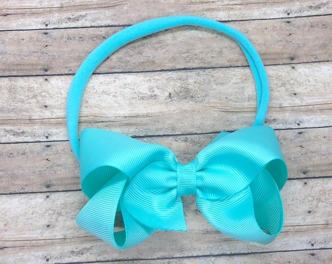 Aqua baby headband - baby headband bows, nylon headband, baby bows, newborn headbands, baby girl headbands, hair bows