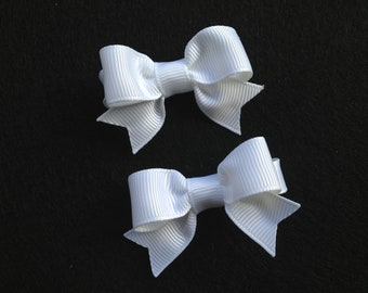 Small white hair bows - hair bows, baby bows, baby hair clips, hair bows for girls, girls hair bows, toddler hair bows