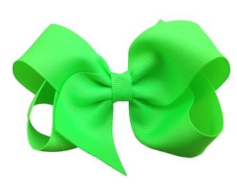 Key lime hair bow - hair bows, bows for girls, hair clips, boutique bows, toddler bows, big hair bows, bow, baby bows, neon bows