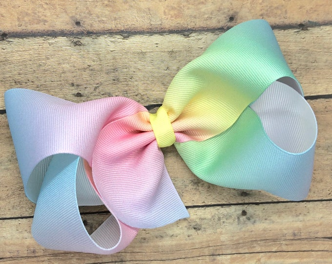Pastel rainbow hair bow - 6 inch hair bows, hair bows, hair bow, bows, cheer bows, big hair bows, girls hair bows