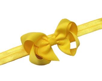 Yellow baby headband - baby headband bows, baby girl headbands, baby bows, newborn headbands, baby hair bows