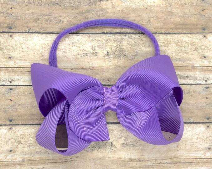 Lilac baby headband - nylon headband, baby headband bows, baby bows, newborn headbands, baby girl headbands, hair bows