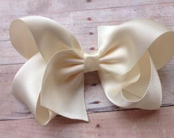 Ivory satin hair bow - hair bows, bows, hair clips, hair bows for girls, baby bows, toddler bows, girls bows, girls hair bows, hair bow, bow