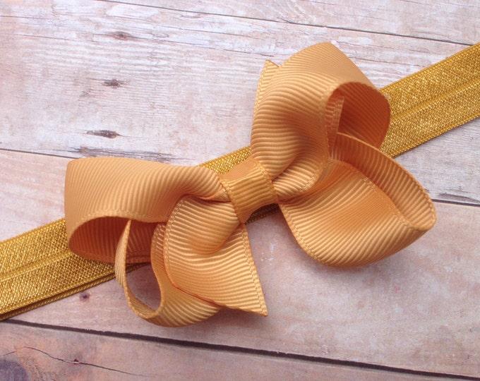 Gold baby headband - baby headband, baby girl headband, baby headband bows, newborn headband, baby bows, headbands baby girl, hair bows
