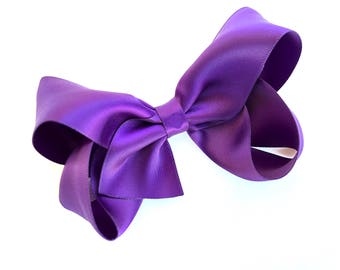 Satin hair bow - dark purple hair bows, hair bows for girls, baby bows, toddler hair bows, satin bows